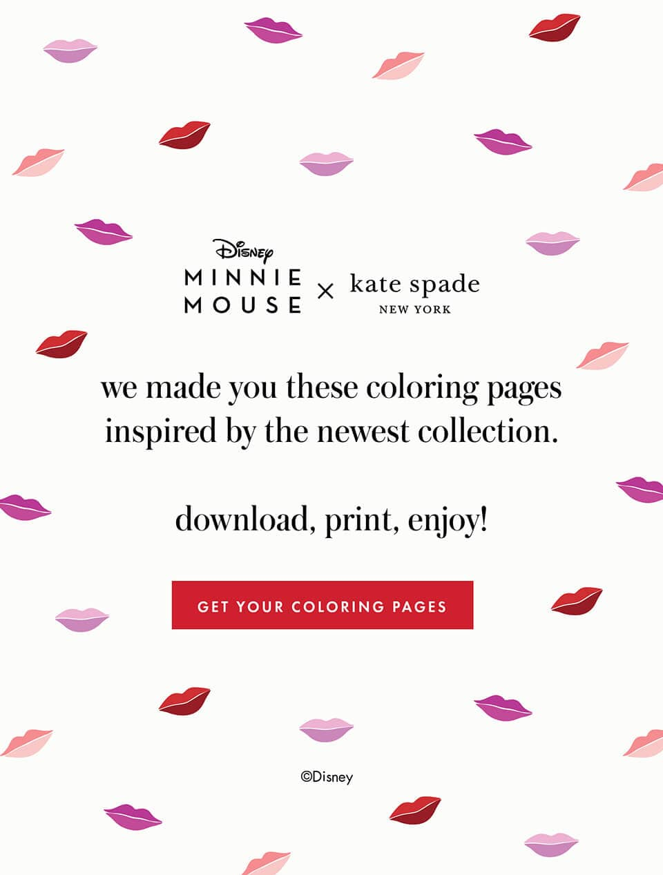 Disney Minnie Mouse x kate spade new york. we made you these coloring pages inspired by the newest collection.          download, print, enjoy! get your coloring pages.
